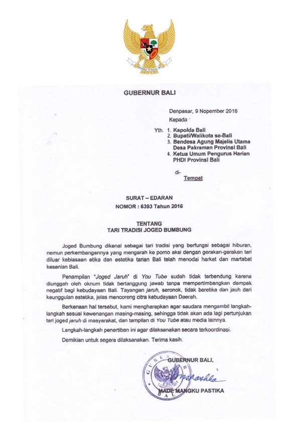 Surat Edaran Gubernur Bali No. 6393 Tahun 2016